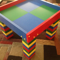 Lego Table Child's lego Building Table with Chalkboard, Activity Table