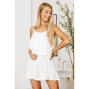 Wish You Well Ruffle Overlay Romper | White