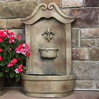 Outdoor Classics Flower of France Solar Outdoor Wall Fountain