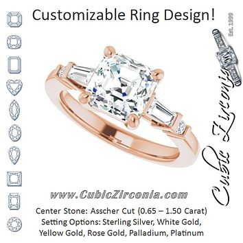 Cubic Zirconia Engagement Ring- The Belem (Customizable 5-stone Baguette+Round-Accented Asscher Cut Design))