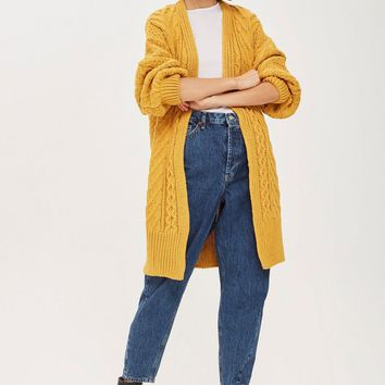 Cable Knit Longline Cardigan | Topshop
