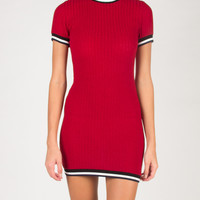 Sporty BodyCon Shirt Dress - Red - Large