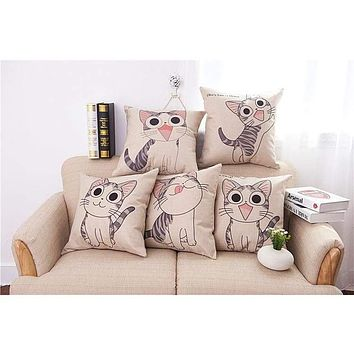 Cat Printed Cotton Cushion