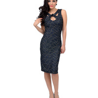 Navy & Bronze Don't Cross Me Stretch Wiggle Cocktail Dress