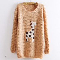 Light Pink Super Adorable Cartoon Giraffe Loose Pullovers Sweater