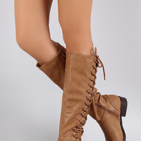 Bamboo Corset Lace Up Riding Knee High Boots