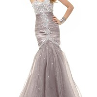 Albizia Womens Sweetheart Beaded Pleated Mermaid Evening Prom Dresses Gowns