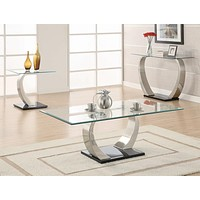 G701238 - Willemse Glass Top Occasional Tables - Clear And Satin