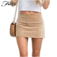2017 Hot Women Faux Leather Mini Skirt Womens Fashion Leather Suede Pencil Skirt Zipper Split Bodycon Sexy Summer Short Skirts