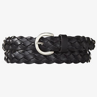 LEATHER BRAIDED BUCKLE BELT from EXPRESS