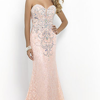 Strapless Sweetheart Lace Prom Dress by Blush