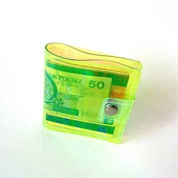 Clear vinyl wallet money ID holder credit Card holder transparent neon yellow 90s opalized coin holder card holder clear wallet iridescent