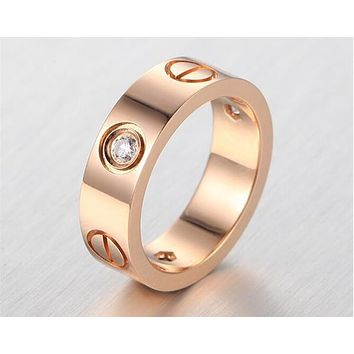 Fashion 4/6mm Women men Famous brand crystal Jewelry carter love rings luxury titanium steel Rose Gold bijoux couple lovers ring