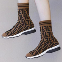 FENDI Fashion Woman Casual Knit Socks Boots Breathable Sneakers Running Shoes Coffee