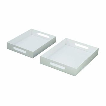 Charming Acrylic White Tray Set of Two
