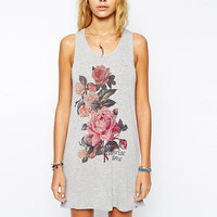Grey Floral Print Cut Out Back Sleeveless Shirt Dress