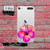 Hibiscus Flower Pink Watercolor Tumblr Case for Clear Transparent Rubber iPod Touch 5th Generation Case 5th Gen Cover iPod 6th Generation
