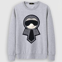 Fendi Casual Simple Women Men Long Sleeve Shirt Top Tee