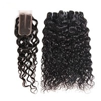 Peruvian Water Wave 2/3 Hair Bundles With Closure 20Inch Non Remy Human Hair