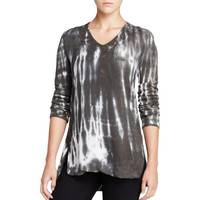 XCVI Womens Crepe Tie-Dye Tunic Top