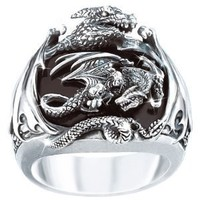 Realm Of The Dragon Sterling Silver Ring: Men's Fantasy Jewelry - size 10
