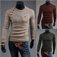 Single Pocket Design Slim Fit Men Fashion Sweater
