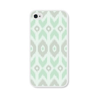 Mint Green Geometric Ikat Apple iPhone 5 Case - iPhone 5 Cover - Tribal Southwest iPhone 5 Skin - Mint Green Grey White Cell Phone
