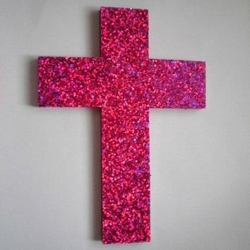 PINK GLITTER CROSS - Large Decorative Wall Cross w/ Sparkling Bright Hot Pink Glitter Surface - 12.5 x 9