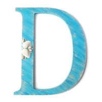 Decorative Letter D hand painted in turquoise and sand distressed finish, sea shell decor rustic shabby beach style