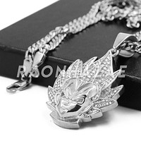 Stainless Steel Silver DragonBall Z Goku Pendant w/Cuban Chain