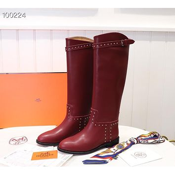 HERMES 2019  Trending Women's men Leather Side Zip Lace-up Ankle Boots Shoes High Boots08020xf