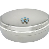 Turquoise Flower Pendant Oval Trinket Jewelry Box