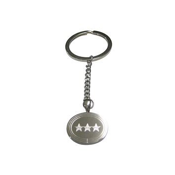 Silver Toned Etched Oval 3 Stars Pendant Keychain