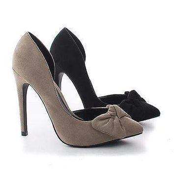 Valerie15 By Wild Diva, D'Orsay Knotted Bow Stiletto Heel Pumps
