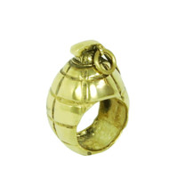 Monserat De Lucca – Mills Bomb Grenade Brass Ring In Gold | Thirteen Vintage