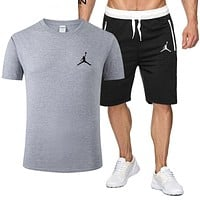 NIKE Jordan Summer Fashion New People Print Sports Leisure Top And Shorts Two Piece Suit Men Gray
