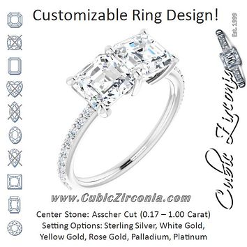 Cubic Zirconia Engagement Ring- The Minerva (Customizable Enhanced 2-stone Asscher Cut Design with Ultra-thin Accented Band)