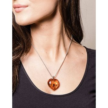 Amber Heart Pendant on Silver Chain