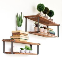 Recycled Wood & Metal Shelves (Set of 2)