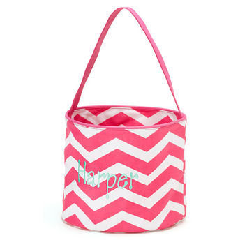 Easter Basket Pink Chevron Tote Bucket  -  Personalized Monogrammed