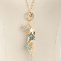 LONG LEAF & TURQUOISE CHARM NECKLACE