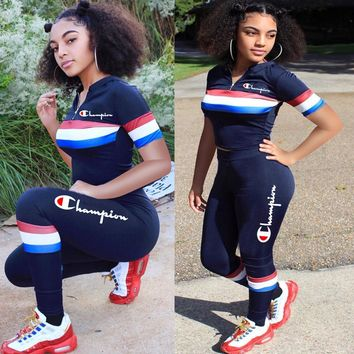 Champion Summer Hot Sale Women Casual Print Top Pants Trousers Set Two-Piece Sportswear