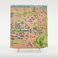 Vintage Map of Edinburgh Scotland (1935) Shower Curtain by BravuraMedia | Society6
