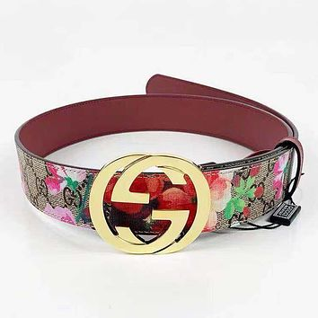 GUCCI Fashion Woman Men Smooth Buckle Flower Print Belt Leather Belt