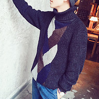 Vintage High Neck Long Sleeve Ribbed Knit Men Sweater