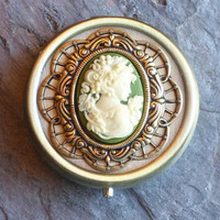 Cameo pill box container, antique brass pill box, bronze pill box, green cameo pill box, bridesmaid gift, unique holiday gift, gift for her