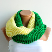 Discount,Spring sale.infinity Scarf,Block scarf,Green and Yellow knitt infinity,scarf,Block Infinity Scarf. Circle Scarf, Neck Warmer.
