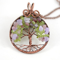 Spring Tree of Life Pendant SunCatcher Tree Family Tree Copper Wire Wrapped Pendant Wired Copper Jewelry Amethyst Rose Quartz Peridot Rustic