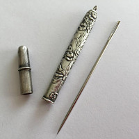 Antique  Silver Needle Case, Ribbon Bow and Flower Design