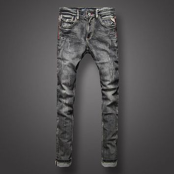 Black Gray Color Denim Men's Jeans